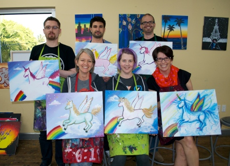 Front: Karen, Deborah, Lori. Back: Jeremy, Nikolay, Mike.